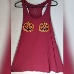 Sequin Pumpkins Bear Dance Tank Top